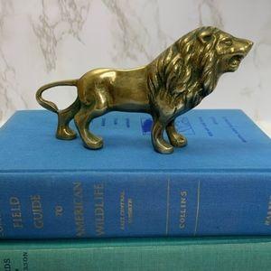 Vintage Brass LION figurine decor patina distress